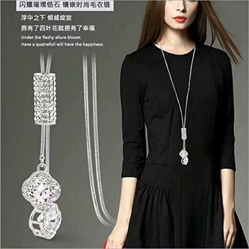 LINSUNG ロングネックレスペンダント ファッション ワイルド クリスタル ネックレス レディースセーターチェーン