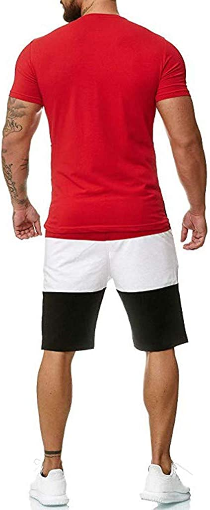 iYBUIA Mens 2 Piece Outfit Sport Set Short Sleeve Summer Leisure Motion Elastic Rope Short Pants Thin Section Sets