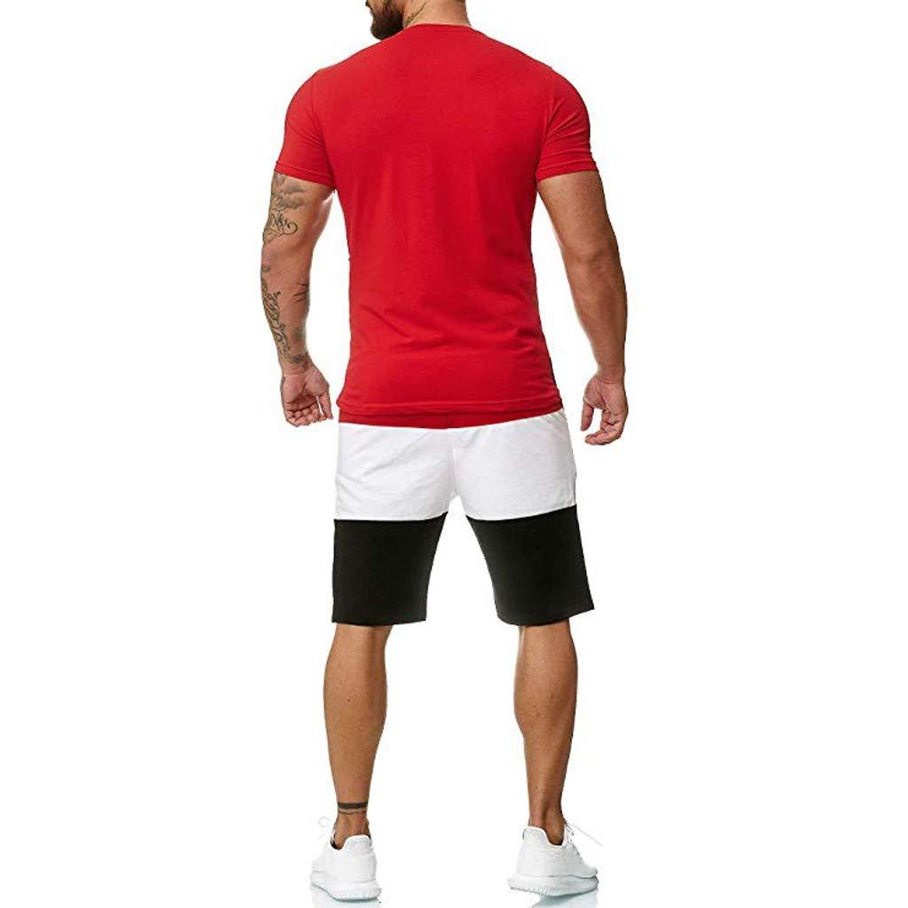 2 Pezzi Tuta Uomo Sportivo Estiva in Cotone Completa Maglietta A Maniche Corte Pantaloncini Tuta da Ginnastica Uomo Casuale Yoga Pantaloni Corti da Jogging Fitness Sportive Abbigliamento