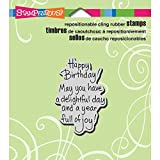 STAMPENDOUS CRH306 Cling Rubber Stamp, Delightful Birthday
