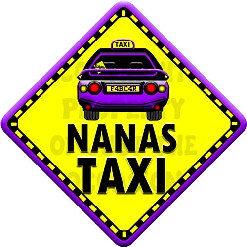 NANAS TAXI Baby on Board Car Window Sign JTO