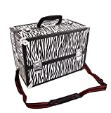 New Large Portable Aluminum Beauty Cosmetic Makeup Jewelry Carry Case Salon Box - Zebra + FREE E-Book