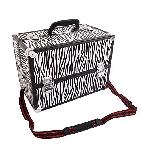 New Large Portable Aluminum Beauty Cosmetic Makeup Jewelry Carry Case Salon Box - Zebra + FREE E-Book
