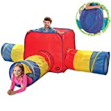 """Discovery Kids 4-Piece Adventure Dome Play Tent W/ 3 Removeable Tunnel Tubes, 32"""" Cube and 35"""" Tunnels, Indoor/Outdoor Pop Up Playhouse Design, Easy Setup, Lightweight Fabric, Folds Flat"""