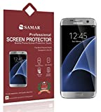 SAMAR - Premium Quality { FULL SIZE } Crystal Clear Screen Protectors for Samsung Galaxy S7 Edge (3 in Pack) Ultra Thin High Definition HD Clear Screen Protector - Includes Microfiber Cleaning Cloth
