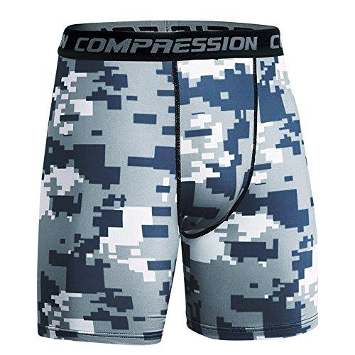 (Men's Summer Shorts Sports Training Bodybuilding Workout Fitness Pants Blue)