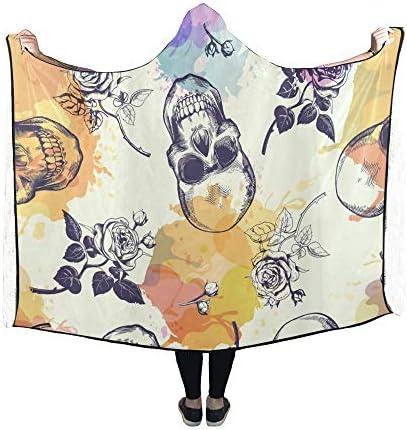 Rtosd Couverture à Capuche Skulls Rose Couverture dessinée 60x50 Pouces Wrap à Capuche Comfotable
