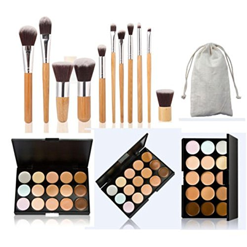 GOTD 15 Colors Face Concealer Camouflage Cream Contour Palette + 11PC Bamboo Brush Set (Khaki ) by GOTD