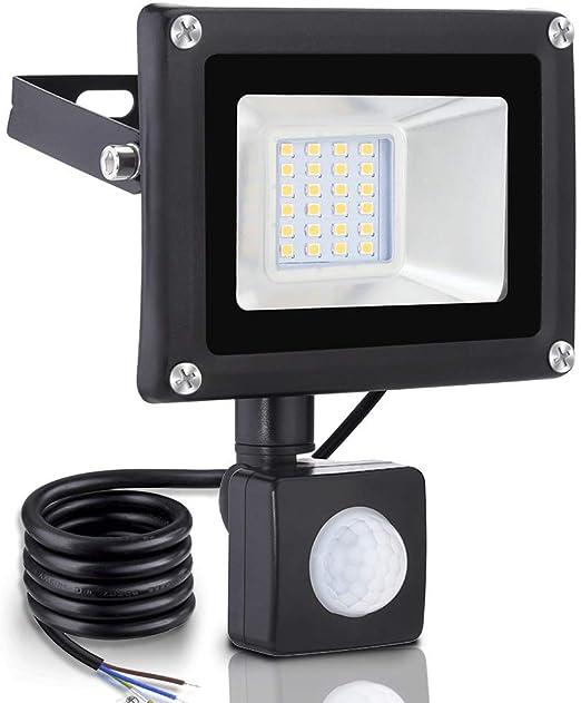 20w Foco led exterior Proyector,Foco sensor de movimiento ,Led Floodlight para Exterior Iluminación Decoración IP 65 ,3000K blanco Cálido,foco para Jardín, Garaje: Amazon.es: Iluminación