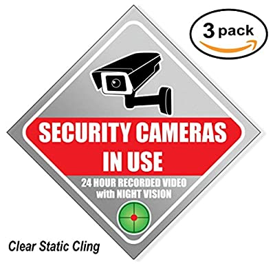 "Security Sign Sticker - Video Surveillance Sign - Large 8.5"" (3 Pack), Window Cling, 8 mil thick, Camera & Video 24 Hour for Indoor or Outdoor Use Long Lasting Weatherproof by Apple House Press, Inc"