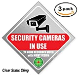 "car vandalism surveillance camera - Security Sign Sticker - Video Surveillance Sign - Large 8.5"" (3 Pack), Window Cling, 8 mil thick, Camera & Video 24 Hour for Indoor or Outdoor Use Long Lasting Weatherproof"