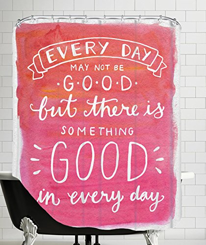 American Flat Something Good In Every Day Hand Lettered Shower Curtain by Samantha Ranlet, 71'' x 74''