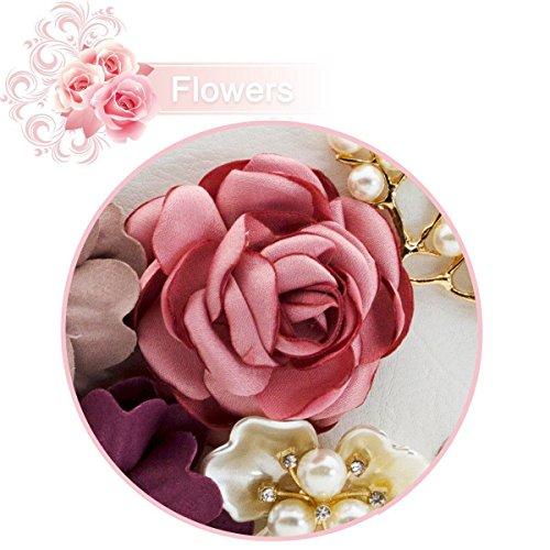 las de cuero de perla la sobre de de mujeres Bolsos cartera la de la tarde de de Bolso de blanco flor SODIAL embrague Bolsos xAIROq8Z