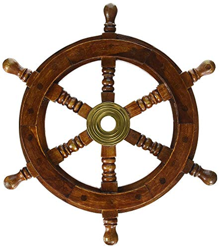 Nautical Handcrafted Wooden Ship Wheel Pirate's Home Wall Decor 12 Inche]()