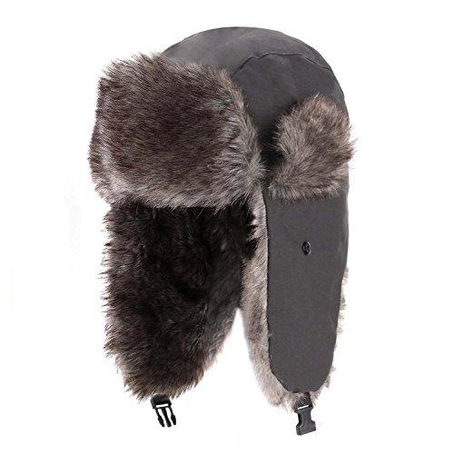 Yesurprise Trapper Warm Russian Trooper Fur Earflap Winter Skiing Warm Hat Cap Women Men Unisex Windproof Army Grey (Earflap Womens)