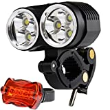 Vicmax A60 5600 Lumens 6Pcs x Cree XM-L2 U2 Led Bicycle Light, 4x2200mAh Battery Pack with Waterproof Plastic Box (4 Cell x Samsung 18650 Lithium Battery)- Free 5 Led Taillight