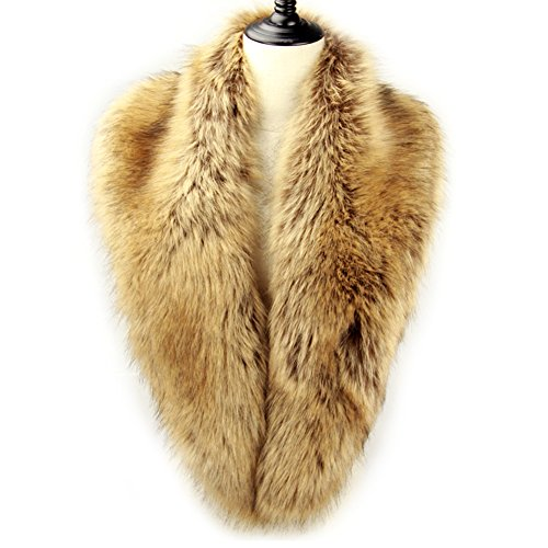 Dikoaina Extra Large Women's Faux Fur Collar for Winter Coat,Raccoon,120cm