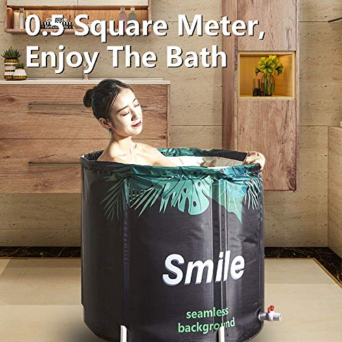 Foldable Bathtub Portable Soaking Bath Tub,Eco-Friendly Bathing Tub for Shower Stall,Thickening with Thermal Foam to Keep Temperature