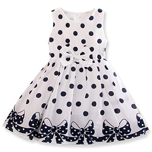 NNJXD Girl Sleeveless Polka Dotted Dress,Summer Casual Party Dress Size 4-5 Years White