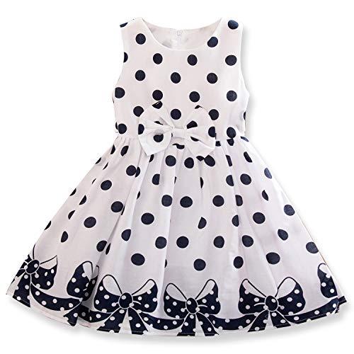 Dotted Party Dress - NNJXD Girl Sleeveless Polka Dotted Dress,Summer Casual Party Dress Size 4-5 Years White