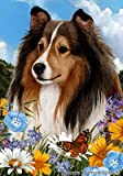Sheltie Sable – Best of Breed Summer Flowers Large Flags