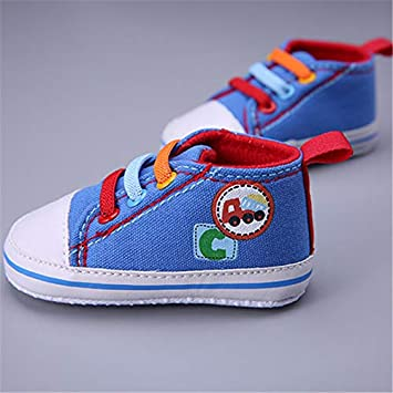 Newborn Canvas Classic Sports Sneakers Baby Boys Girls First Walkers Spring Shoes Infant Toddler Soft Sole Anti-slip Baby Shoes 0-6months, Blue