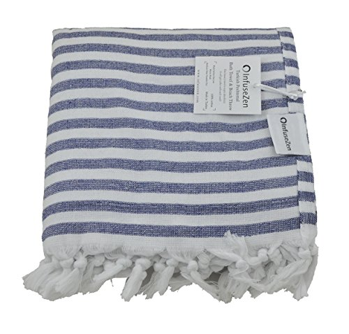 InfuseZen Navy Blue and White Striped Turkish Terry Towel for the Bath, Pool or Spa, Oversized Beach Towel, Oversized Peshtemal Towel, Thin Terry Fouta by InfuseZen