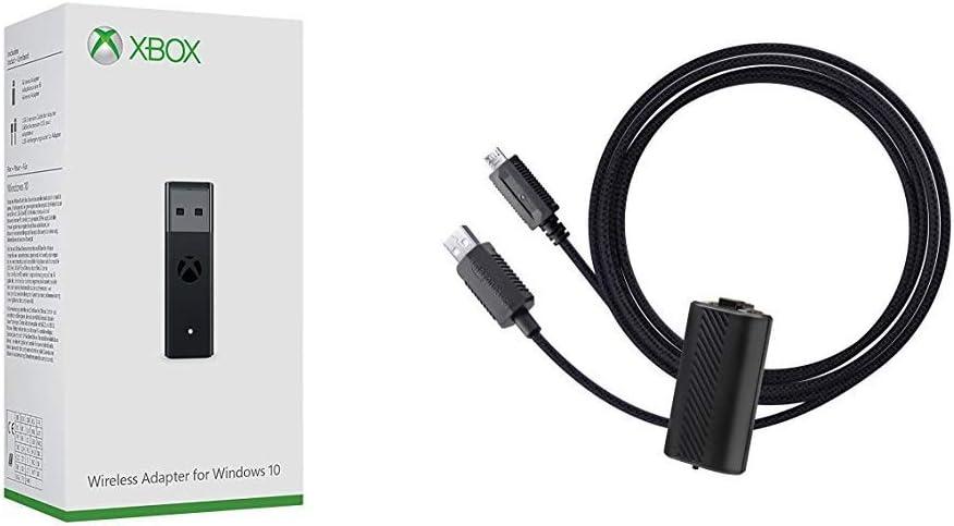 Microsoft - Adaptador Wireless (PC) + AmazonBasics - Kit Carga y Juega, con cable trenzado, para Xbox One, Xbox One S y Xbox One X , Negro: Amazon.es: Videojuegos