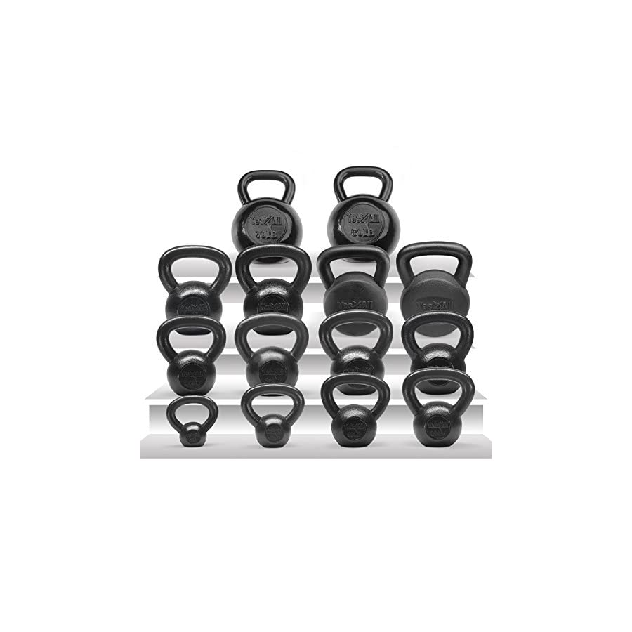 Yes4All Solid Cast Iron Kettlebells – Weight Available: 5, 10, 15, 20, 25 to 80 lbs