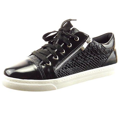 Sopily - Scarpe da Moda Sneaker slip-on alla caviglia donna pelle di serpente zip verniciato Tacco a blocco 2 CM - Nero