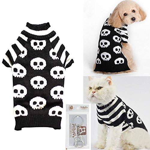 Bolbove Pet Skull Cable Knit Turtleneck Sweater for Small Dogs & Cats Skeleton Knitwear Cold Weather Outfit (Medium, Black)