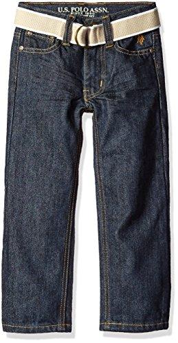 U.S. Polo Assn. Little Boys' Toddler 5 Pocket Belted Jeans, Blue Wash, (Belted Five Pocket Jeans)
