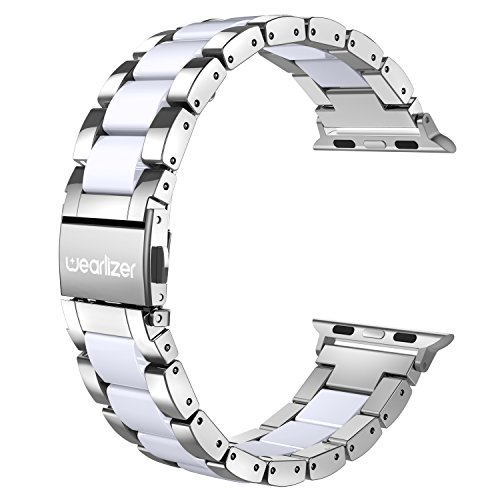 Wearlizer Silver Compatible with Apple Watch Band 38mm 40mm Fashion Womens Mens iWatch Wristband Stainless Steel Strap White Resin Replacement Bracelet Sport Metal Clasp Series 4 3 2 1 Sport Editio