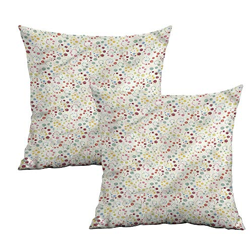 "Khaki home Abstract Square Pillowcase Protector Dot Swirls Retro Look Square Kids Pillowcase Cushion Cases Pillowcases for Sofa Bedroom Car W 20"" x L 20"" 2 pcs"
