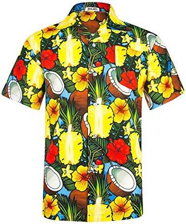 BOJIN アロハシャツ メンズ 通気速乾 UVカット 半袖 柄 カジュアル プリント 超軽量 夏服 森 L(ラベルM)
