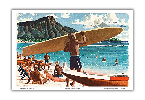 Pacifica Island Art Waikiki Beach, Hawaii - Hawaiian Surfer, Diamond Head Crater - United Air Lines - Vintage Airline Travel Poster by Fred Ludekens c.1950s - Master Art Print - 12 x 18in