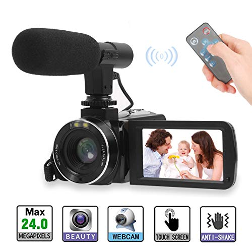 (Video Camera, Full HD Camcorder 1080P Digital Camera 30FPS 3'' LCD Touch Screen Vlogging Camera for YouTube with External Microphone and Remoter (2 Batteries)