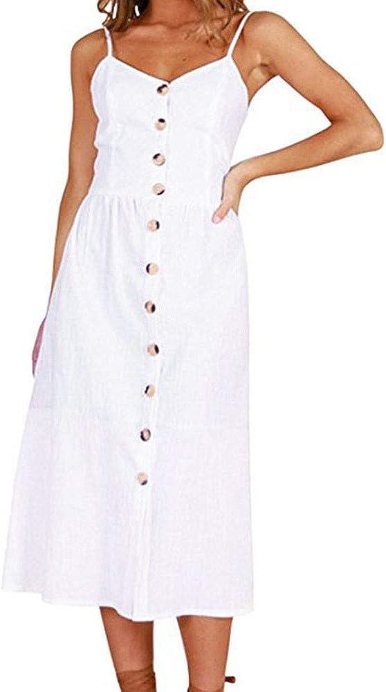 Reooly Vestido sin Mangas con Hombros Descubiertos y Botones Estampados Hermosos Moda Fiesta de Playa Vestido de Princesa Bohemia