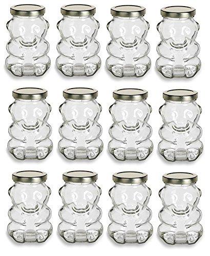 (Premium Vials, 9 Ounce, Glass Bear Jar - For Honey, Jam, Favors - Case of 12 (With Gold)