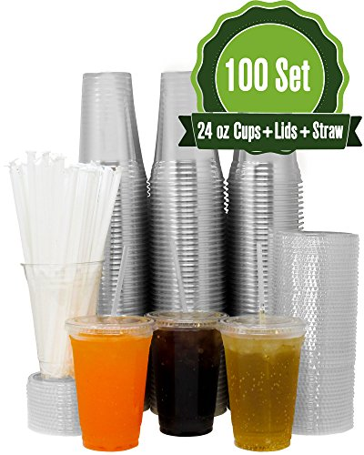 100 Sets 24 oz Crystal Clear Disposable Plastic Cups with Flat Lids and Straws for Cold Drink, Iced Coffee, Juice, Bubble Boba, Smoothie and Tea etc. (Restaurant Supplies Quality)