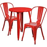 "Flash Furniture 24"" Round Red Metal Indoor-Outdoor Table Set with 2 Cafe Chairs"