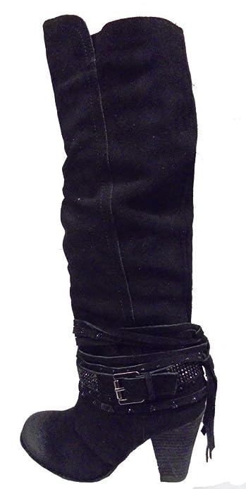 Naughty Monkey Womens Buck Wild Fashion Slouch Boot,Black,6.5
