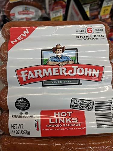 Farmer John Hot Links Smoked Sausage 14 Oz (4 Pack)