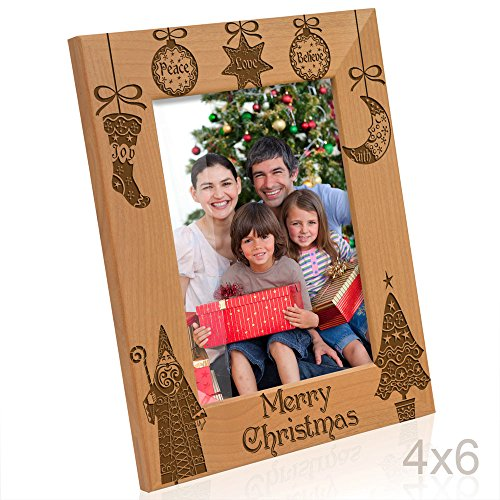 Kate Posh - Vintage Merry Christmas Picture Frame - Peace, Joy, Love, Believe, Faith Engraved Natural Wood Photo Frame - Christmas Gifts for Family, Grandparents, Friends, Parents (4x6-Vertical)
