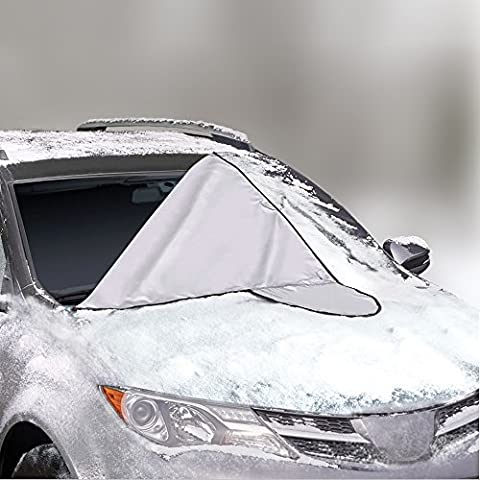 Car Windshield Cover for Winter Snow Removal- Magnetic Snow, Ice and Frost Guard - Fits (Water Stop Standard)