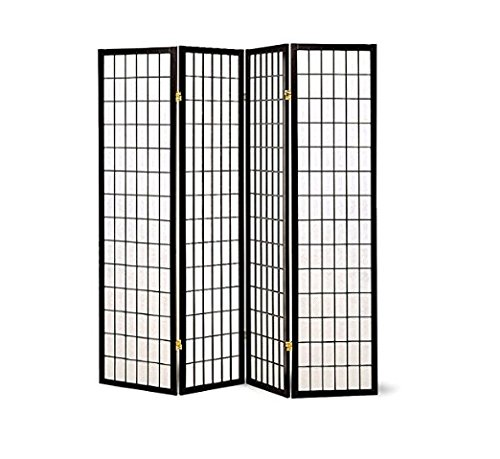 Major-Q black-4-panels-1 Decoration Japanese Oriental Style Room Screen Divider, Black