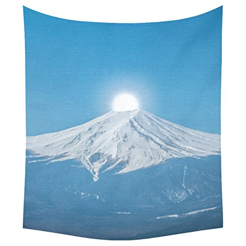 InterestPrint Snow Mountain Landscape Home Decor Tapestries Wall Art,Mount Fuji Tapestry Wall Hanging Art Sets 51 X 60 Inches