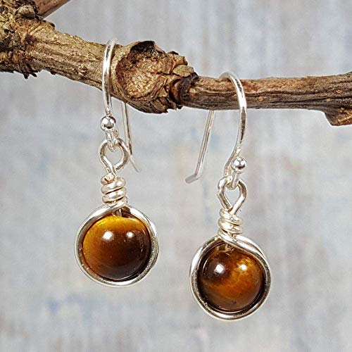 Tiger Eye Gemstone Minimal Drop Earrings - 925 Sterling ()