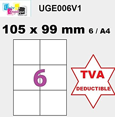 50 A4 hoja 6 pegatina 105 x 99 mm etiqueta de papel adhesivo para ...