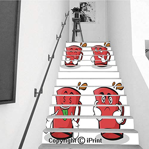 Stair Stickers Wall Stickers,13 PCS Self-Adhesive,Stair Riser Decal for Living Room, Hall, Kids Room,Collection of red Glass Character Cartoon Set Vector Illustration